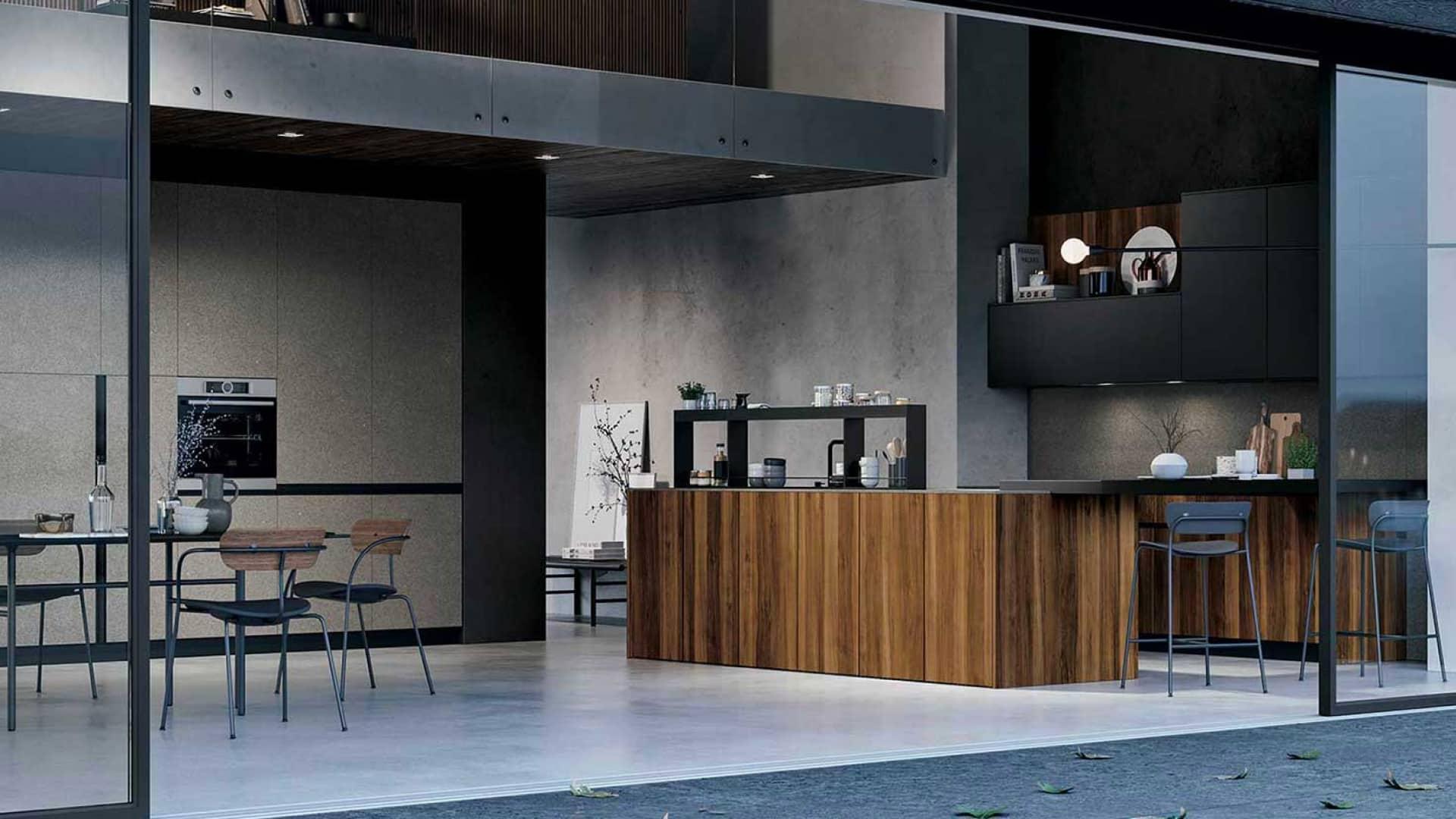 Cuisine & Pose Marseille Aix-en-Provence Cuisiniste Cuisine équipée sur-mesure réalisations ilot central bois placard noirs et beige