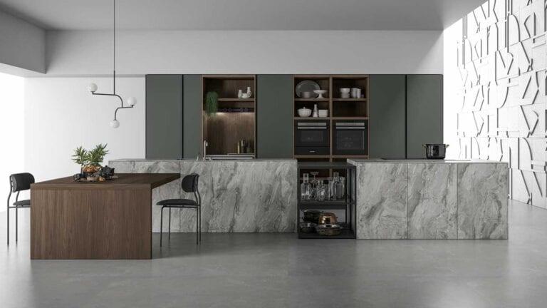 Cuisine & Pose Marseille Aix-en-Provence Cuisiniste Cuisine équipée sur-mesure cuisine clair ilot central marbre meuble vert foncé table bois foncé